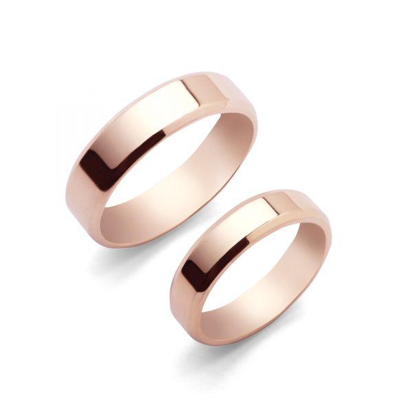 Cliff - klasyczne obrączki fazowane z różowego złota - Marcin Czop Autorska Pracownia Biżuterii