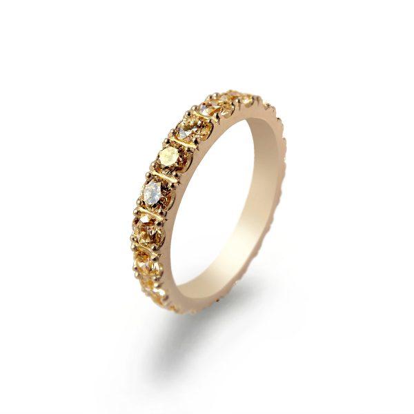 Eternity pierścionek obrączkowy z brylantami fancy brown koniakowymi łącznie 1ct - Marcin Czop Autorska Pracownia Biżuterii