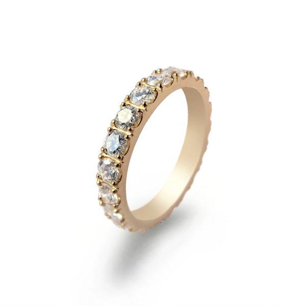 Eternity pierścionek obrączkowy z brylantami ponad 1ct z żółtego złota- Marcin Czop Autorska Pracownia Biżuterii