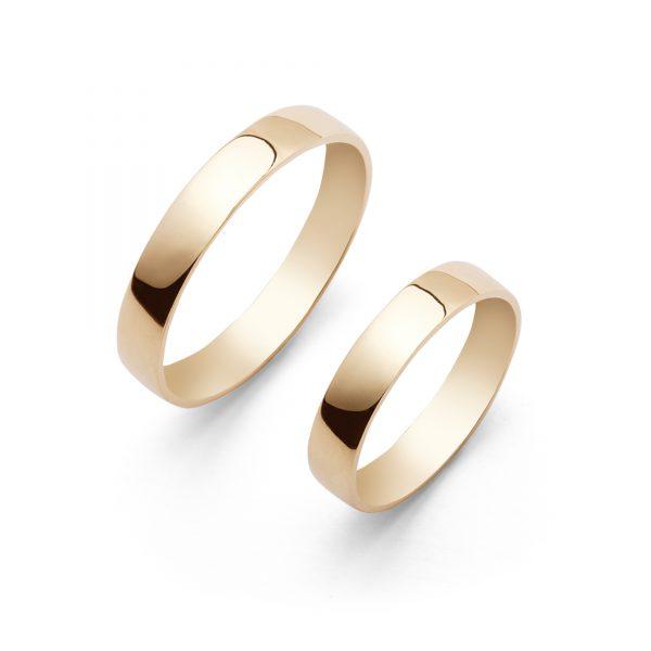 Lens - obrączki ślubne soczewkowe żółte złoto szerokości 3,5mm - Marcin Czop Autorska Pracownia Biżuterii