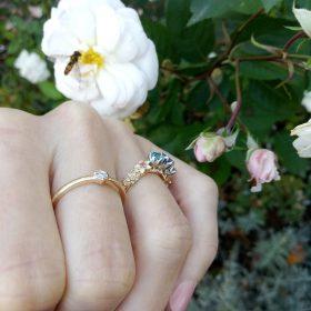 Bouquet złoty pierścionek z tanzanitem topazami rubinami i brylantami - Marcin Czop Autorska Pracownia Biżuterii -gp2