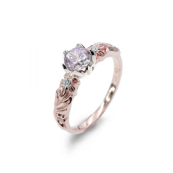 Pierścionek zaręczynowy z morganitem i brylantami z różowego złota - Marcin Czop Autorska Pracownia Biżuterii