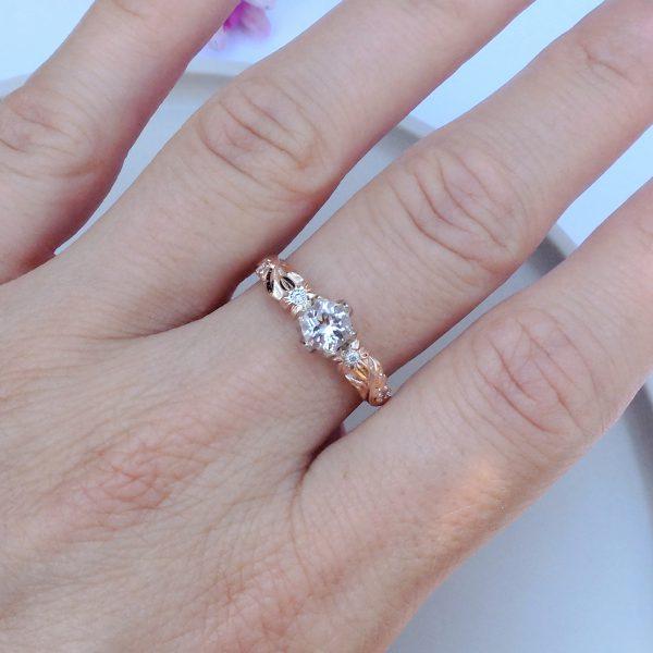 Pierścionek zaręczynowy z morganitem i brylantami z różowego złota - Marcin Czop Autorska Pracownia Biżuterii -gp4